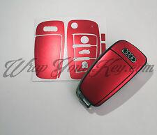 RED Satin Chrome Chiave Wrap copertura pelle telecomando Audi A1 A3 A4 A5 A6 A8 TT Q3 Q5 Q7