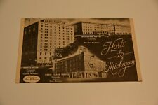 Vintage HOTEL POSTCARD Olds Lansing Four Flags Wenonah HOSTS TO Michigan