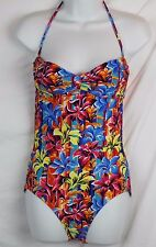 J.Crew $125 Sunset Floral Bandeau One-Piece Swimsuit NWT 10 M Medium B8614