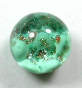 """Vintage Glass Button Green with gold Accents Paperweight design - 3/8"""""""
