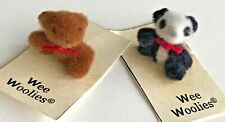 Wee Woolies LOT of TWO Vintage Miniature Bears, 1 Teddy and 1 Panda SO TINY