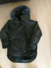 THE SUPERDRY CO GREEN WOOL BLEND HOODED COAT - SIZE MEDIUM