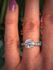1.2Ct Round VVS1 D GRA Certified Moissanite Solitaire Ring White Gold Fns Silver