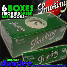 6 BOXES SMOKING GREEN 70mm STANDARD SINGLE WIDE - 300 BOOKS - ROLLING PAPERS