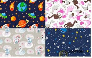 FABRIC 100% COTTON Patterns of unicorns, stars, mini for girls / boys Fabric 63