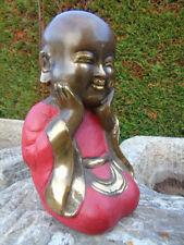 BOUDDHA EN BRONZE , statue bouddha shaolin bronze  patiné couleur