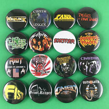 "Classic Heavy Metal 1"" Button Pin Set #1 NWOBHM Omen Riot Tank Exciter Satan"