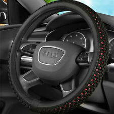 Black leather Steering Wheel Cover with breathable ice sil For Car 15''/38cm