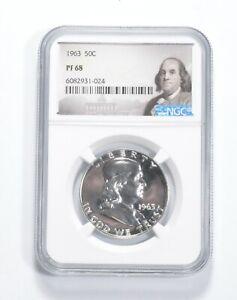 PF68 - 1963 Franklin 90% Silver Half Dollar - NGC *756