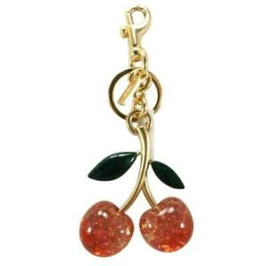 Coach NWT Cherry Resin Gold Bag Charm Key Ring 88547