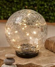 Solar Powered Lighted Warm White Crackle Glass Garden Gazing Ball Globe