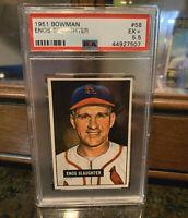 1951 BOWMAN PSA 5.5 (EX+) ENOS SLAUGHTER Card #58 ST LOUIS CARDINALS SHARP CARD!