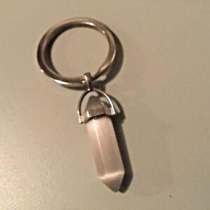 New Hippy Smoky White Crystal Glass Keyring Fob Hippy Gift Q113