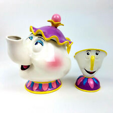 Mrs Potts & Chip Music Boxes Ceramic Tea Pot Disney Beauty Beast Schmid Exc Cond