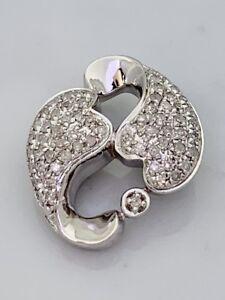 Hearts Pendant White Natural Diamond in St. Silver Lot #99