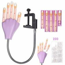 Nail Art Practice Model Hand for Training Flexible Plastic 200Pcs Fake Nail Tips