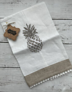 mud pie Embroidered pineapple Towel NWT