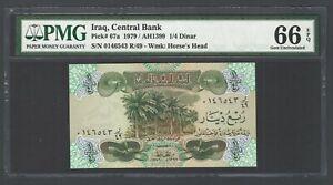 Iraq- 1/4 Dinar (1979/AH1399) P67a  Uncirculated Graded 66