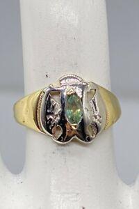 Antique 1900s Ostby & Barton EAGLE MASONIC .50ct Natural Alexandrite Mens Ring