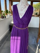 Wallis Size 12 Purple Maxi Dress Fully Lined With Gold Effect Belt