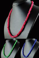 Genuine Single Strand Sapphire, Emerlad & Ruby Faceted Beads Handmade Necklace