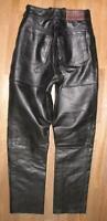 ARIZONA LOUIS Damen- LEDERJEANS Biker- Lederhose schwarz ca. deutsche Gr. 32-34