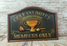 St. Andrews Golf Members Only Wooden Golf Plaque Wall Hanging Decor Man Cave
