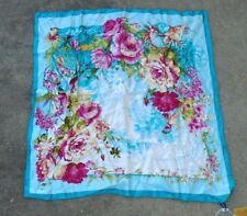 Fuanna China silk head scarf pink flower exotic bird print on turquoise