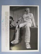 Vtg AP Glossy 1988 Basketball Press Promo Photo Larry Bird At Press Conference