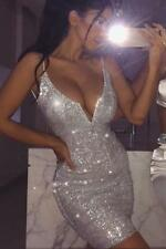 BRAND NEW Silver Sequin Bodycon Party Evening Sparkle Celeb Style Sizes XS-L