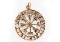 Vegvisir Asatru Wikinger Runen Kompass Anhänger Bronze Gothic Schmuck - NEU