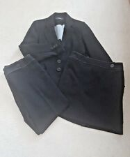 Ladies Debenhams Black 3 Piece Skirt Trousers Jacket Suit Size 12-14 Smart Lined