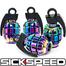 4 ANODIZED GRENADE VALVE STEM CAP KIT/SET FOR RIMS/WHEELS/TIRES P4 NEO CHROME