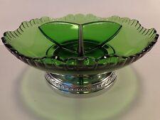 Vtg Cambridge Farber Brothers Emerald Green Divided Glass Dish Krome Kraft Base