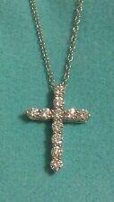 "Tiffany & Co Platinum Small Cross 0.42ct Diamond 18"" Pendant Necklace"