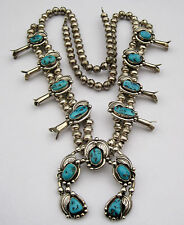 Vintage Navajo Sterling Silver Turquoise Leafs Squash Blossom Necklace 101 grams