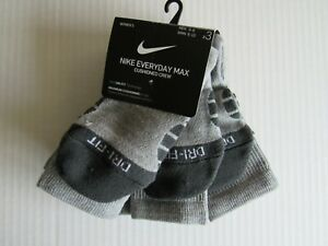 Nike Womens Everday Cushioned Crew Max 3 Pack Socks 6-10 Nwt