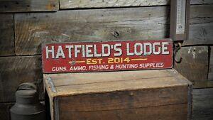 Custom Lodge Established Date Sign - Rustic Hand Made Vintage Wooden