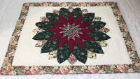 Patchwork Quilt Wall Hanging, Flower With Petals, Floral Calicos, Burgundy Green