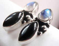 Moonstone and Black Onyx Stud Earrings 925 Sterling Silver Marquise Teardrop New