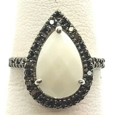 Sterling Silver Faceted Pear White Onyx - Black Halo Cocktail Band Ring Size 7
