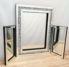 Gatsby Dressing Mirror Crushed Diamond Crystal Glass Silver Bevelled 60x60cm