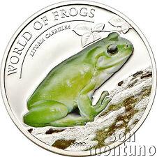 2013 Palau AUSTRALIAN GREEN TREE - World of Frogs Silver Coin - Litoria Caerulea