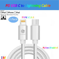 3Pack Silver Type/USB C to Lightning Cable PD Charger Fast Charging f iPhone X/8
