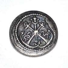 Mercerie bouton vintage ancien métal et plastique ancre marine 22mm button