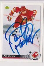 92/93 Upper Deck Paul Ranheim Calgary Flames Autographed Hockey Card