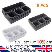 8 Cells Plastic Organizer Storage Box Tie Bra Socks Drawer Cosmetic Divider UK