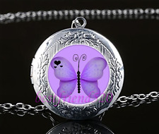 Purple Butterfly Cabochon Glass Tibet Silver Chain Locket Pendant Necklace
