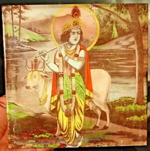 Vintage Ceramic Tile Japan Graphic Lord Krishna Playing Flute Cow Collectibles#*
