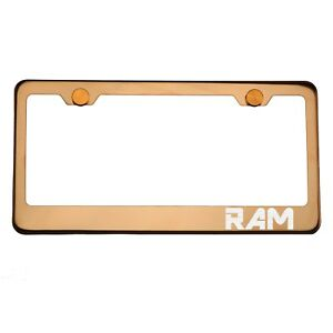 Rose Gold Chrome License Plate Frame RAM Laser Etched Metal Screw Cap
